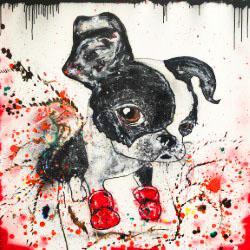 BOSTON DOG aperato artiste peintre marseille 100X100 3D