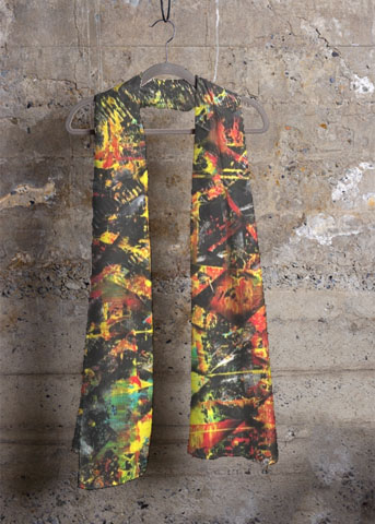foulard orange aperato-artiste-peintre-marseille-echarpe-artistique