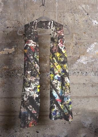 foulard noir aperato-artiste-peintre-marseille-oeuvre-sur-echarpe