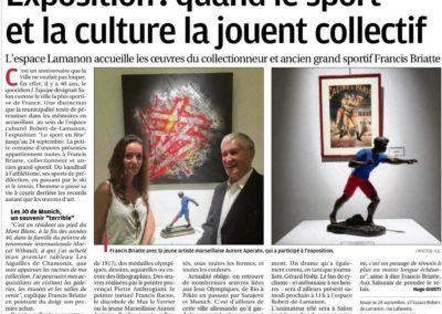 APERATO ARTICLE LA PROVENCE ARTISTE PEINTRE MARSEILLE GERARD HOLTZ LE SPORT EN FÊTE