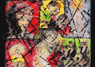KELLOGGS 150X90 APERATO ARTISTE PEINTRE MARSEILLE EXPO GALERIE D'ART OIL PAINTING PATCHWORK SERIE