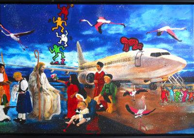 ASCENSION 120X80 APERATO ARTISTE PEINTRE MARSEILLE EXPO  GALERIE D'ART SERIE KARMA POPART STREET ART FIGURATIVE