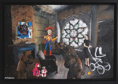 TOY 40X60 APERATO ARTISTE PEINTRE MARSEILLE EXPO  GALERIE D'ART SERIE KARMA POPART STREET ART FIGURATIVE