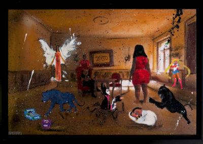 ANGEL RABBIT 60X40 APERATO ARTISTE PEINTRE MARSEILLE EXPO  GALERIE D'ART SERIE KARMA POPART STREET ART FIGURATIVE